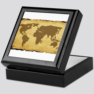 Old World Map On Parchment Keepsake Box